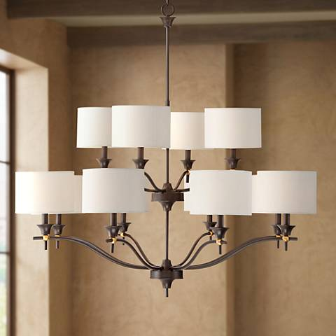 "Edmonton 43"" Wide Bronze and Brass 12-Light Entry Chandelier"