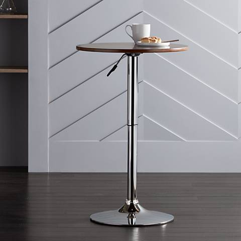 Bentley Walnut Wood Top Chrome Adjustable Round Pub Table