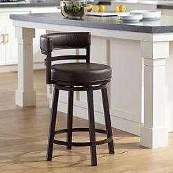 "Madrid 26 1/2"" Ford Brown Faux Leather Swivel Counter Stool"