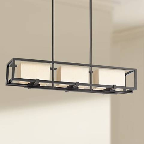 "Huron 36 1/2"" Wide Matte Black 3-Light Island Pendant"