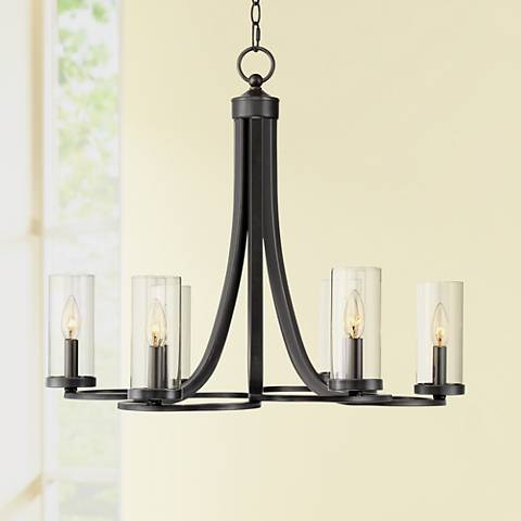 "Bandon 26 3/4"" Wide Clear Glass and Black 6-Light Chandelier"