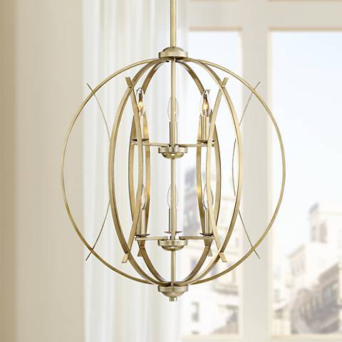 "Possini Euro Spherical 24"" W Antique Gold 6-Light Pendant"