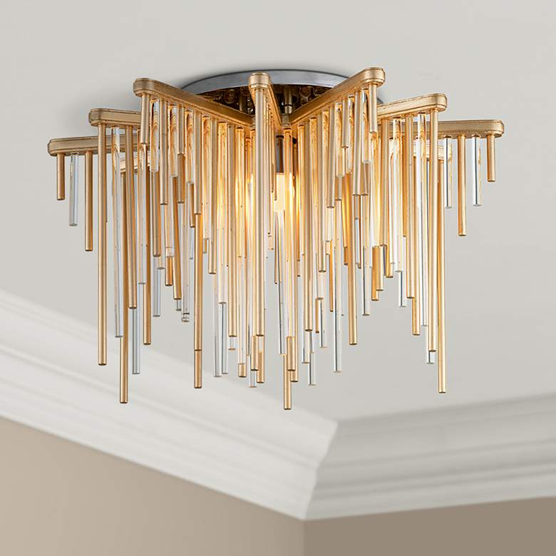 "Corbett Theory 20 3/4"" Wide Gold Leaf LED Ceiling Light"