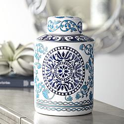 "Blue Two-Tone 12 3/4"" High Ceramic Tea Jar"