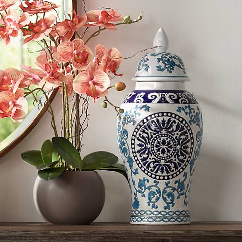 "Blue Two-Tone 18 1/2"" High Ceramic Temple Jar"