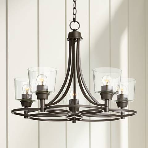"Whitfield 22 1/2""W Bronze and Clear Glass 5-Light Chandelier"