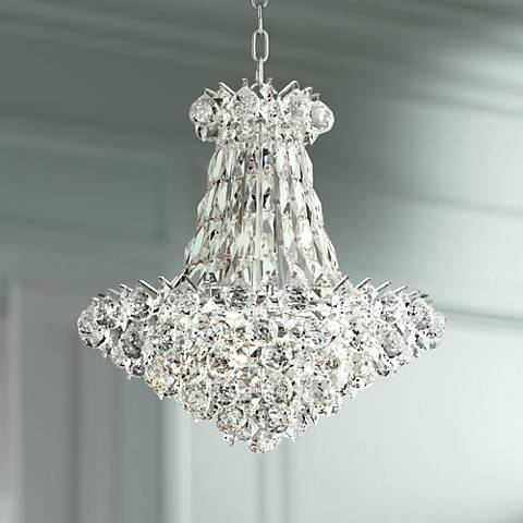 "Pricilla 19"" Wide Chrome and Clear Crystal Chandelier"