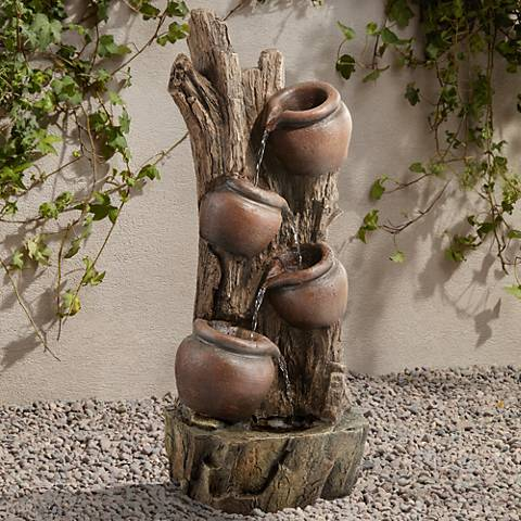 "Serenity 35"" High Tree Bark 4-Pot Indoor/Outdoor Fountain"