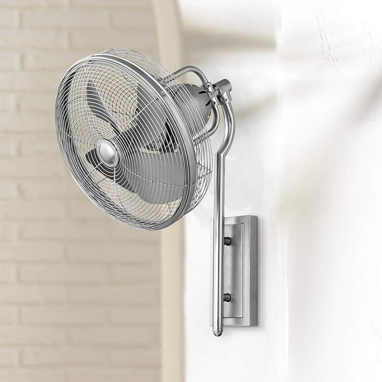 "13"" Quorum Veranda Satin Nickel Patio Wall Fan"