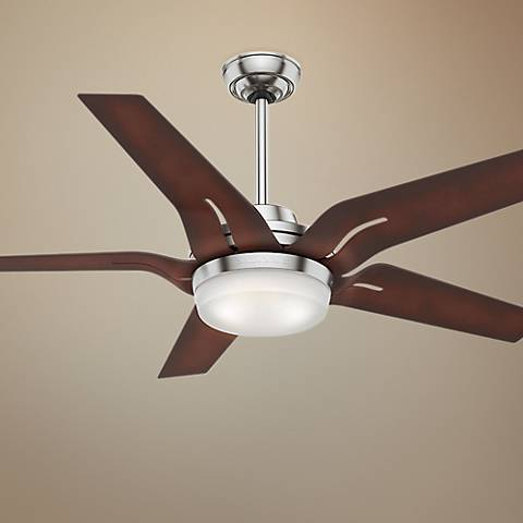 "56"" Correne Brushed Nickel - Coffee Beech LED Ceiling Fan"