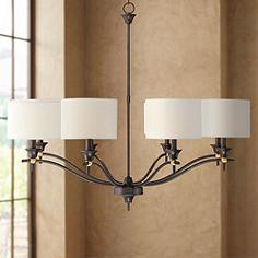 Edmonton 39 Wide Bronze And Brass 8 Light Chandelier