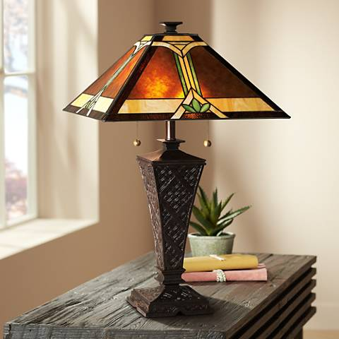Mission Faux Wicker Tiffany Style Table Lamp 32588
