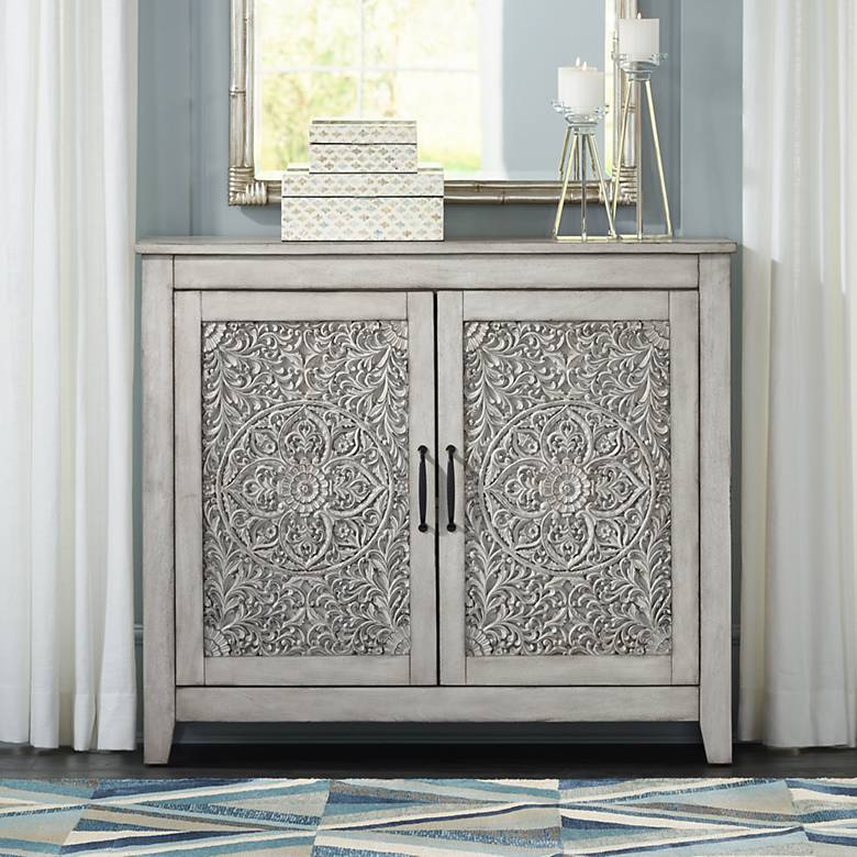 "Weathered White 44"" Wide Carved 2-Door Console Cabinet"