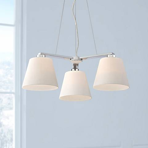 "Ellery 26 1/2"" Wide Chrome and Opal Glass 3-Light Chandelier"