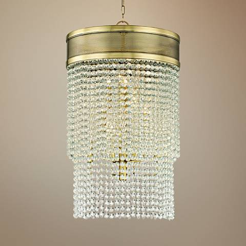 "Hudson Valley Harrison 22"" Wide Aged Brass Pendant Light"