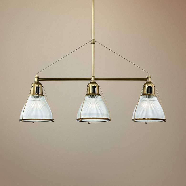 "Haverhill 48"" Wide Aged Brass 3-Light Island Pendant"