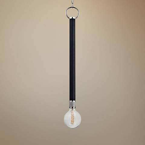 "Desmond 5"" Wide Polished Nickel and Black Mini Pendant"