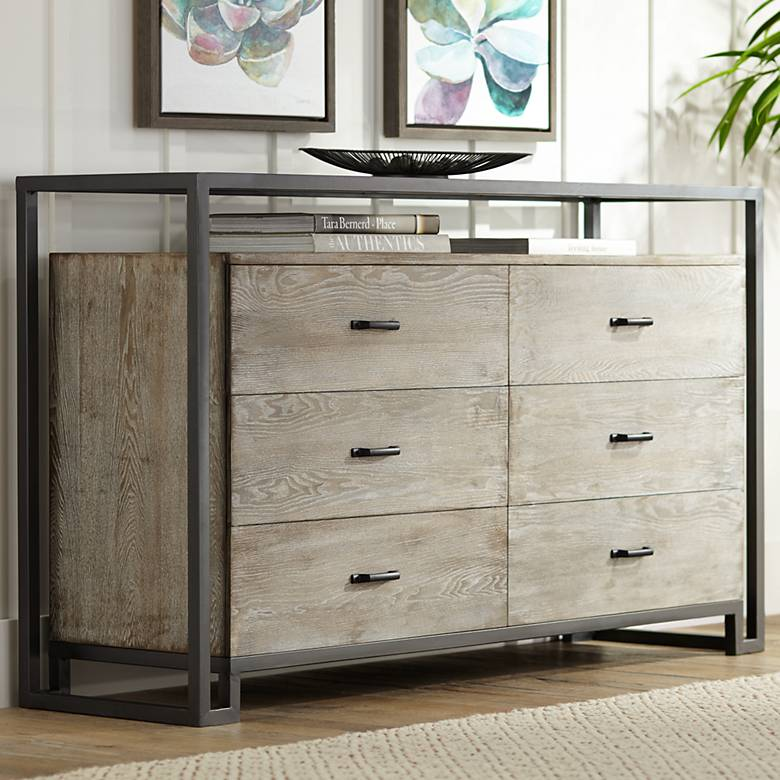 "Liev 59"" Wide Wood and Metal 6-Drawer Modern Buffet Cabinet"