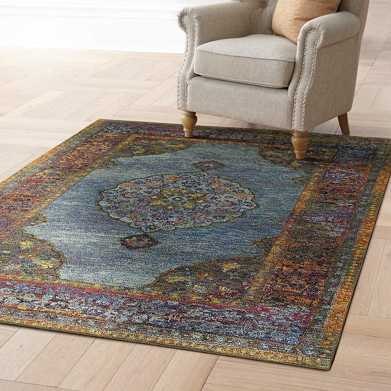 Andorra 7139A Multi-Color Blue Area Rug