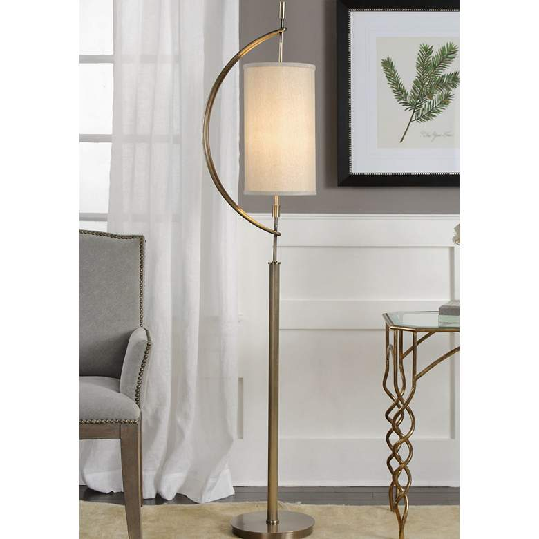 "Uttermost Balaour 66"" High Antique Brass Floor Lamp"