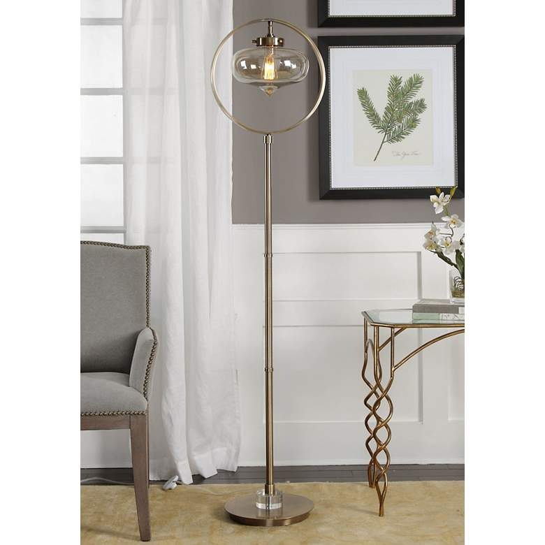 "Uttermost 67"" High Namura Antique Brass Floor Lamp"