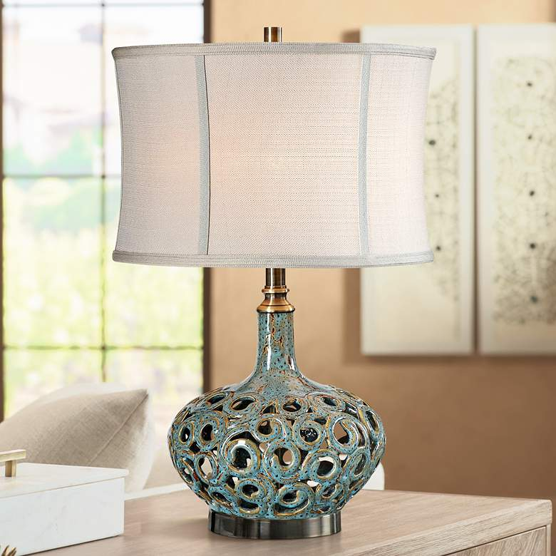 Uttermost Volu Gray and Blue Ceramic Table Lamp