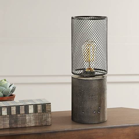 Uttermost Ledro Charcoal Concrete Accent Buffet Table Lamp