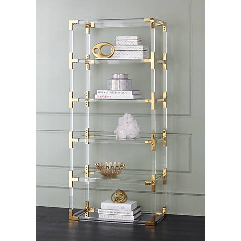 hanna clear acrylic and gold 6 shelf open bookcase - Acrylic Bookshelves