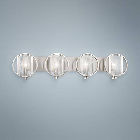 "Via Capri 34"" Wide Brushed Nickel 4-Light Bath Light"