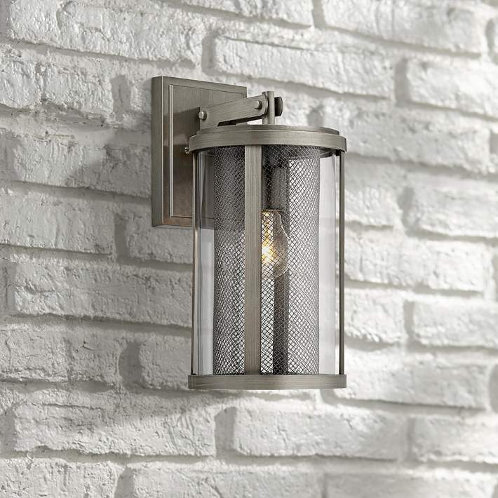 High Brushed Nickel Outdoor Wall Light