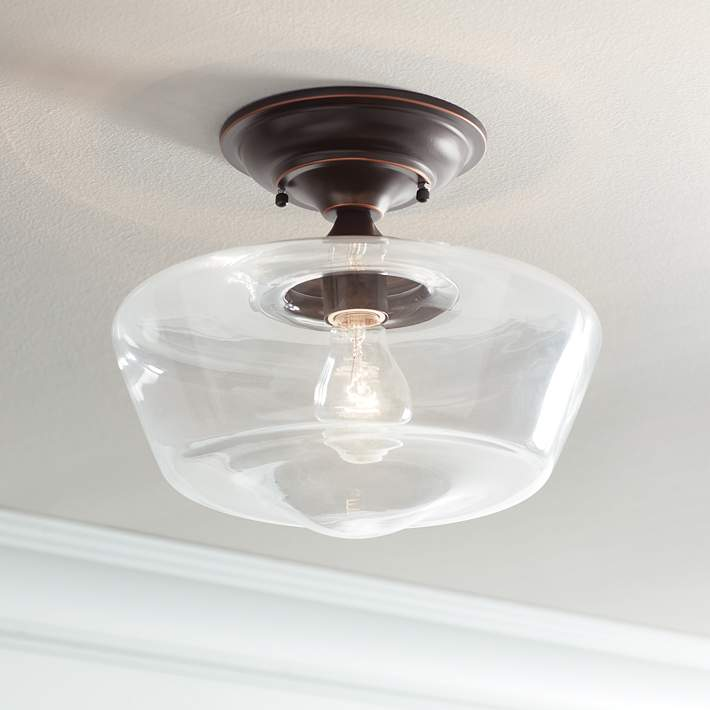 12 W Bronze Clear Gl Ceiling Light