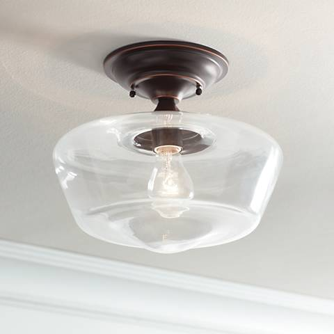 "Schoolhouse Floating 12""W Bronze Clear Glass Ceiling Light"