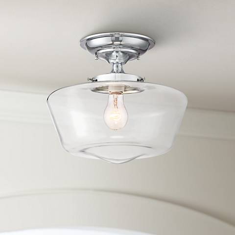 "Schoolhouse Floating 12""W Chrome Clear Glass Ceiling Light"