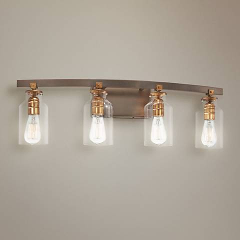 "Morrow 30 1/4"" Wide Bronze and Gold 4-Light Bath Light"