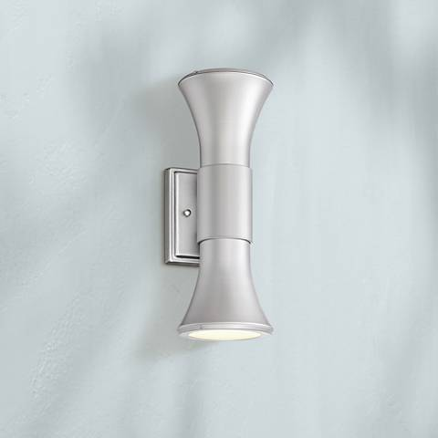 "Possini Euro Joan 14""H Silver Up/Down LED Outdoor Wall Light"