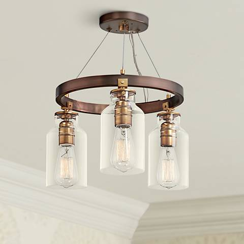 "Morrow 16"" Wide Bronze and Gold 3-Light Ceiling Light"