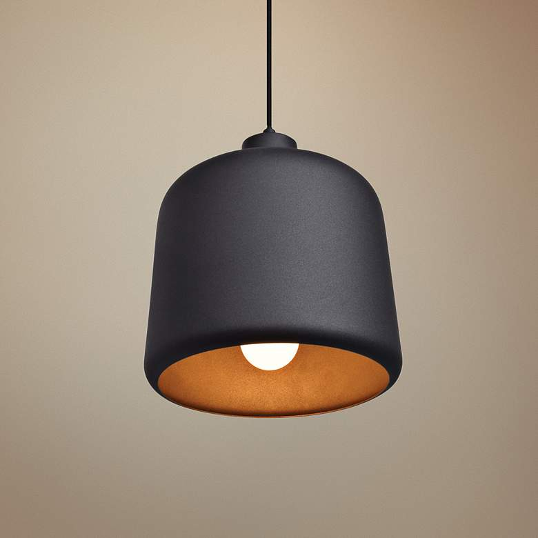 "Nostalgia 10"" Wide Matte Black Mini Pendant"