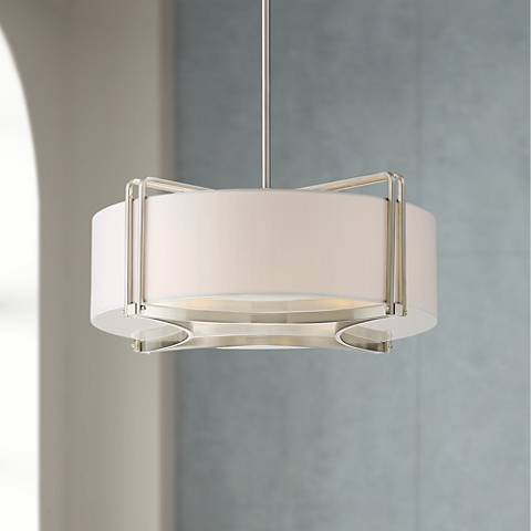 "Possini Euro Kehloe 20"" Wide Satin Nickel Pendant Light"