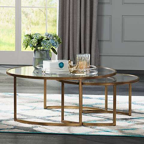 Rhea 2-Piece Antiqued Gold Leaf Metal Nesting Table Set