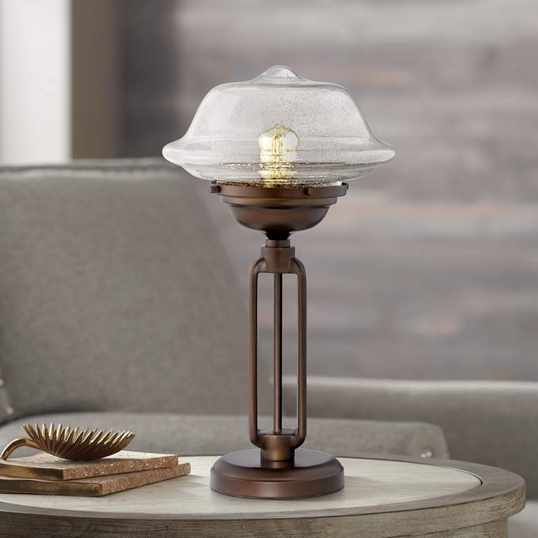 Josef Glass and Metal Accent Table Lamp