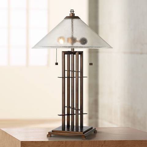 Possini Euro Metro Bronze and Seedy Glass Table Lamp
