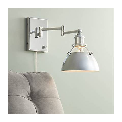 Possini Euro Polished Nickel Down Light Swing Arm Wall Lamp