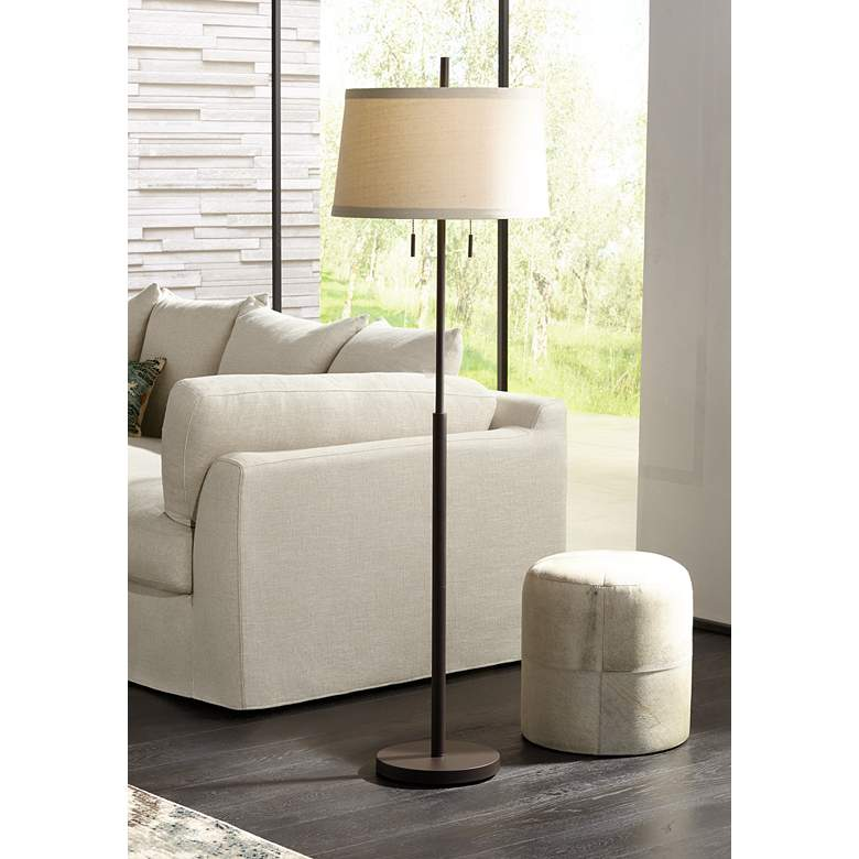 Nayla Bronze Double Pull Chain Floor Lamp Off-White Shade