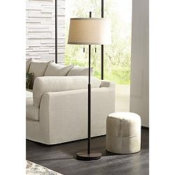 Possini Euro Nayla Bronze Finish Steel Floor Lamp