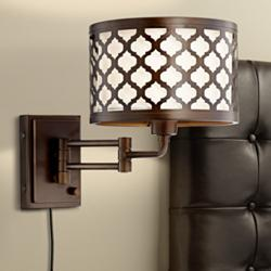 Rissani Oil Rubbed Bronze Double Shade Swing Arm Wall Lamp