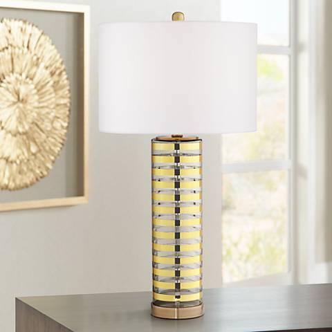Aubrey Gold Stripe Glass Table Lamp