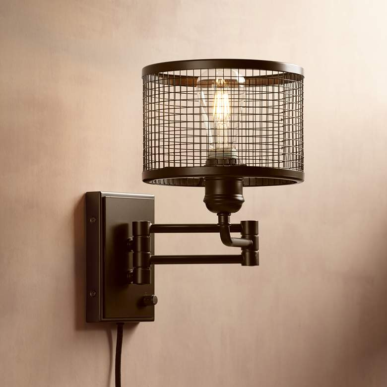 Chad Industrial Cage Plug-In Swing Arm LED Wall