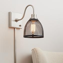 Sam Brushed Nickel and Black Mesh Shade Pin-Up Wall Lamp