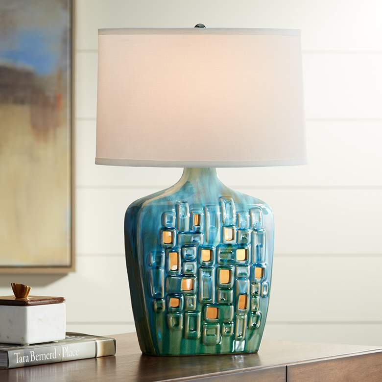 Possini Euro Vincent Ceramic Table Lamp with LED Night Light