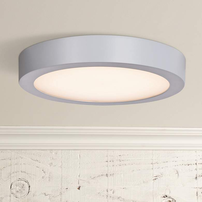 "Ulko Exterior 9"" Wide Silver LED Outdoor Ceiling Light"
